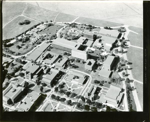 Architectural model of UCLA campus, focused on the north campus