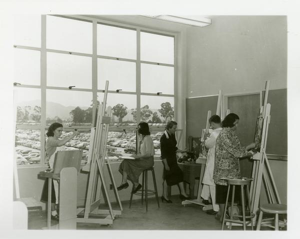 Students at work in painting class, 1952
