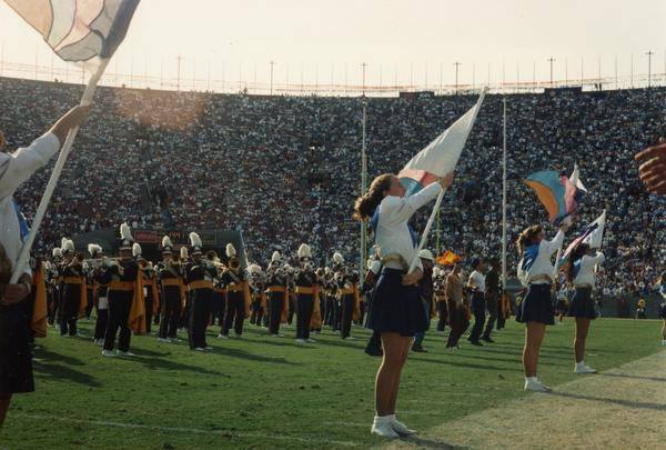 UCLA Marching Band and color guards at UCLA v. USC game 1993