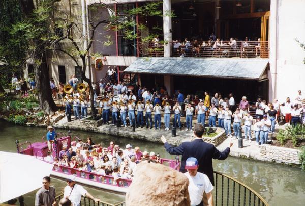 UCLA Band performing at the San Antonio River Walk