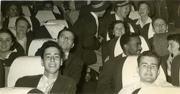Marching Band members on bus, 1950