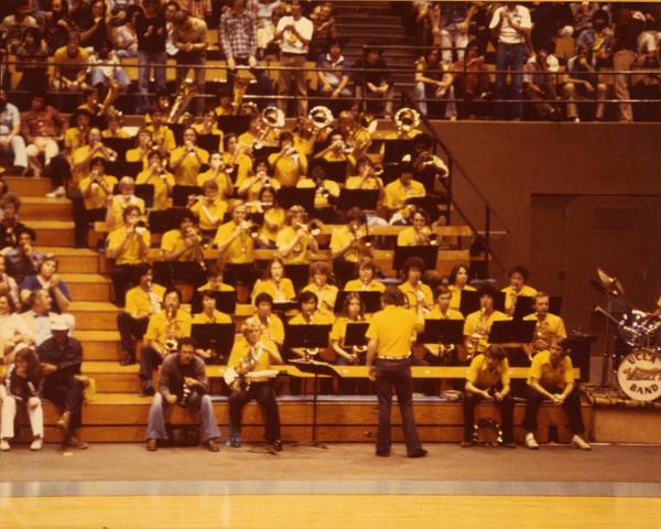 UCLA Band performing during basketball game