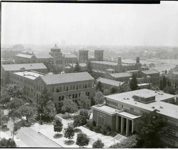 View of Royce Hall, Powell Library, Haines Hall, and Campbell Hall from Bunche Hall