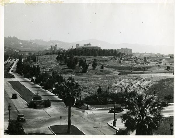 Aerial view of campus from Westwood Village, July 15, 1935