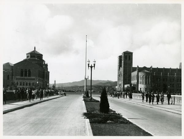 Looking west towards Powell Library and Royce Hall from Arroyo Bridge