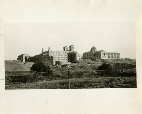 Side exterior view of Royce Hall and Powell Library, ca. 1929