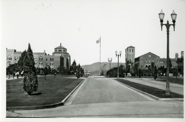 View of Powell Library and Royce Hall from Arroyo Bridge