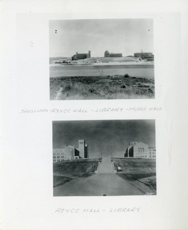 Two views of Janss steps, looking towards Royce Hall and Powell Library