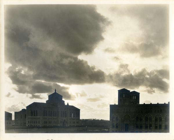 Looking Southwest towards Powell Library and Royce Hall on a cloudy day, 1930