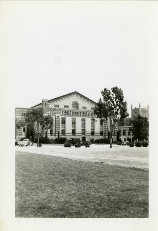 Men's gymnasium with Kerckhoff Hall in the background, June 1943