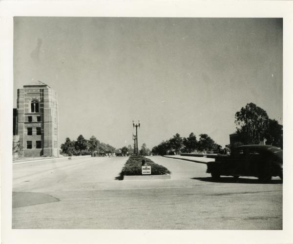 View of unidentified street on Westwood Campus, ca. 1940
