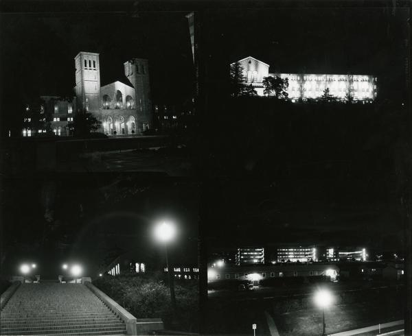 Various views of the campus at night