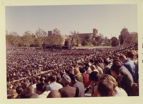 View of audience gathered in temporary stadium for Charter Day 1964
