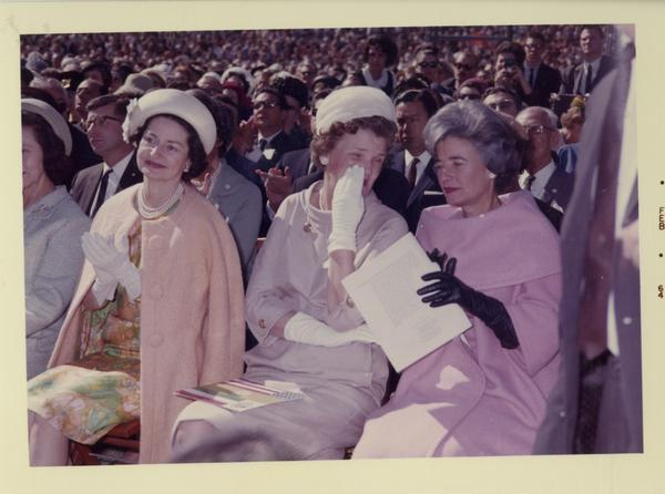 Three unidentified ladies in audience for Charter Day 1964