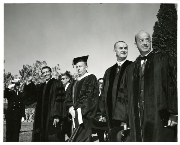 Mexican President Adolfo Lopez, UCLA Chancellor Franklin Murphy, President Lyndon B. Johnson, and UC President Clark Kerr, Charter Day 1964