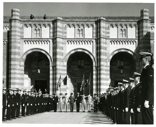 Military and color guard standing at attention, Charter Day 1964