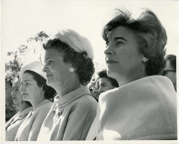 Mrs. Eva Sámano de López Mateos, Mrs. Claudia Alta Taylor Johnson and Mrs Bernice Brown in the audience at the Charter Day 1964