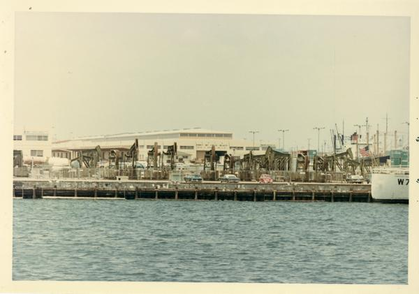 View of equipment along port from Motor Yacht Argo, 1967