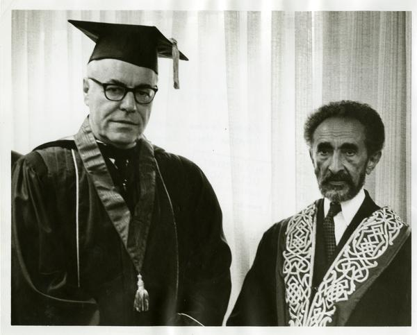 Regent Edward Carter and Emperor Haile Selassie on Charter Day 1967