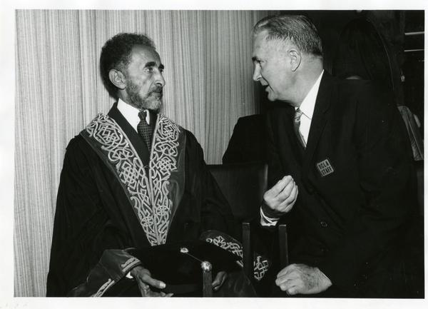 Public Affairs Officer Andrew Hamilton and Emperor Haile Selassie of Ethiopia, April 24, 1967