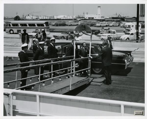 Emperor Haile Selassie of Ethiopia boarding the Motor Yacht Argo, April 25, 1967