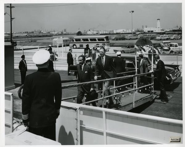 Emperor Haile Selassie of Ethiopia boarding Motor Yacht Argo, April 25, 1967