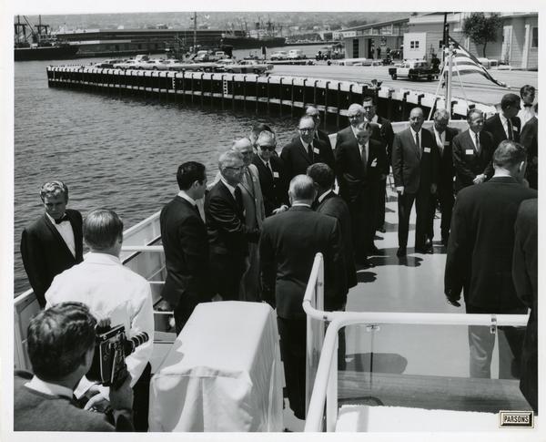 Emperor Haile Selassie boarding the Motor Yacht Argo, April 25, 1967