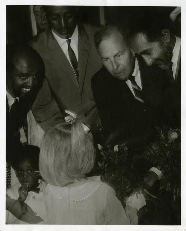 Chancellor Franklin Murphy and Emperor Haile Selassie of Ethiopia with children during Charter Day 1967