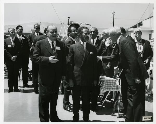Emperor Haile Selassie of Ethiopia accepts greetings from man aboard Motor Yacht Argo, April 25, 1967