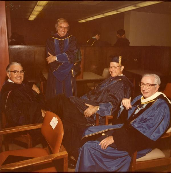 Thomas Cunningham, Judge Wiliam B. Keene, Roger Pettis and John Conaday, the Emeritus General Council on Charter Day, April 3, 1975