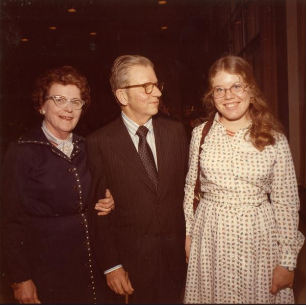 President Hitch, his wife and daughter on Charter Day, April 3, 1975