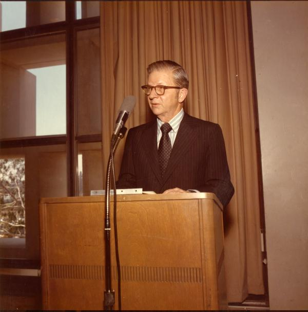 President Hitch speaking on Charter Day, April 3, 1975