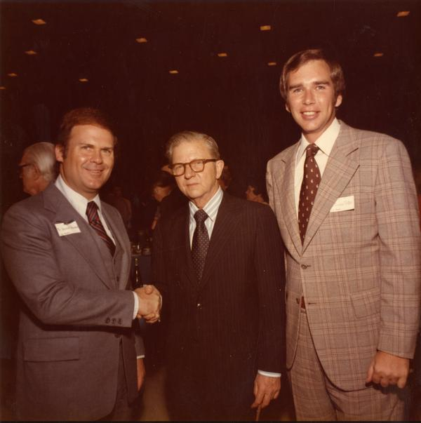 Don Bowman, President Hitch, and Don Trotter at a ceremony for Charter Day