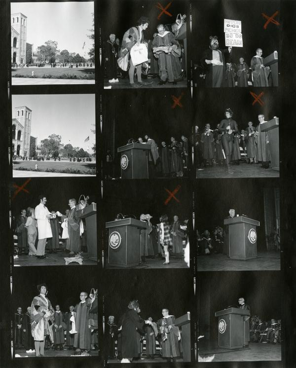 Contact sheet of students being honored at Charter Day, April 3 1975