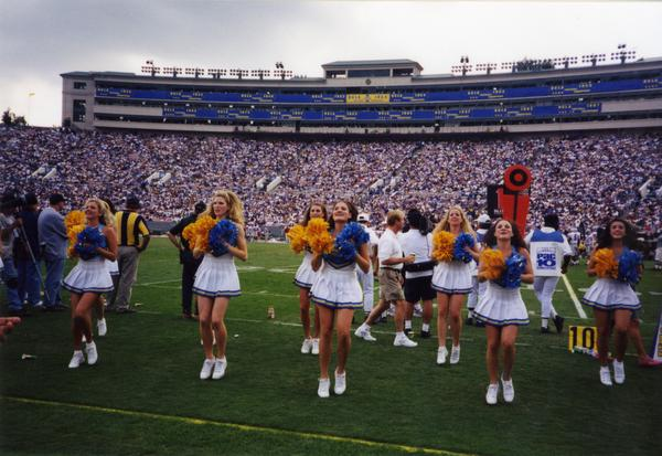 UCLA cheerleaders performing at a football game
