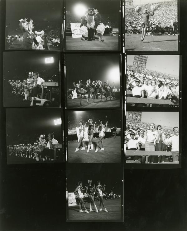 Contact sheet of UCLA cheerleaders at a multiple football games