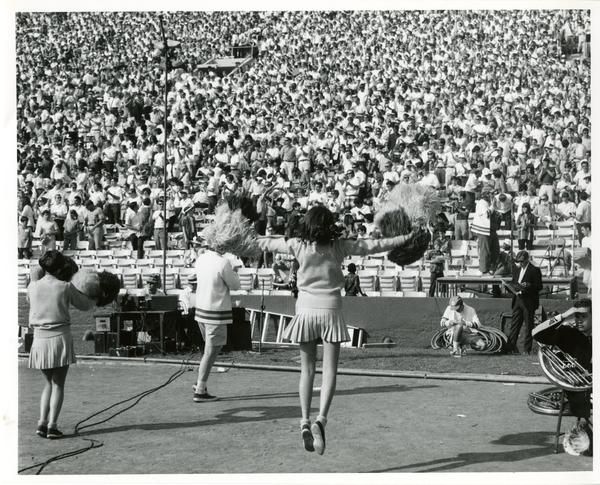UCLA cheerleaders performing for the crowd at a football game