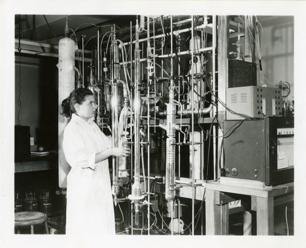 Woman working in lab in the Chemistry Department