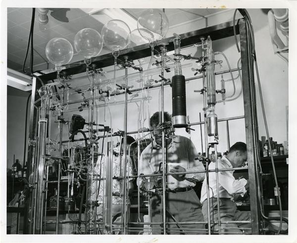 Men working in the Chemistry lab