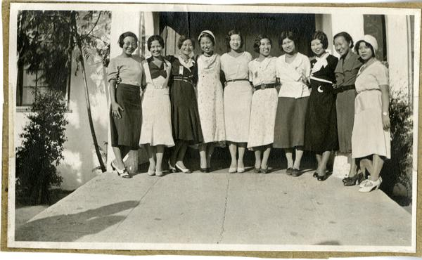 Chi Alpha Delta sorority members at West Los Angeles Japenese School for freshmen reception, 1931