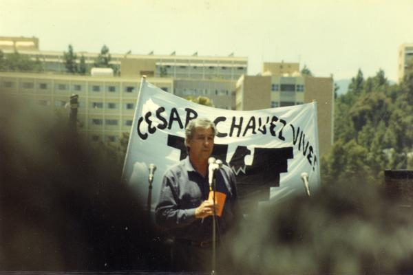 Activist Tom Hayden speaking at a Chicano/a student rally, 1993