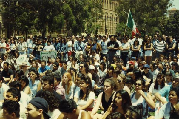 Crowd at a Chicano/a student rally, 1993