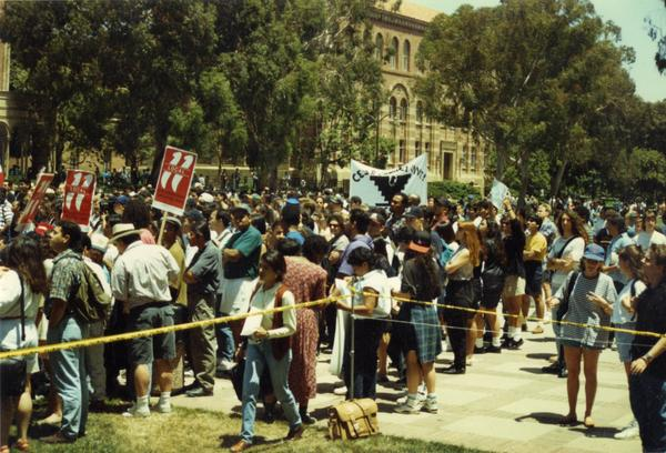 Crowd at Chicano/a student rally, 1993