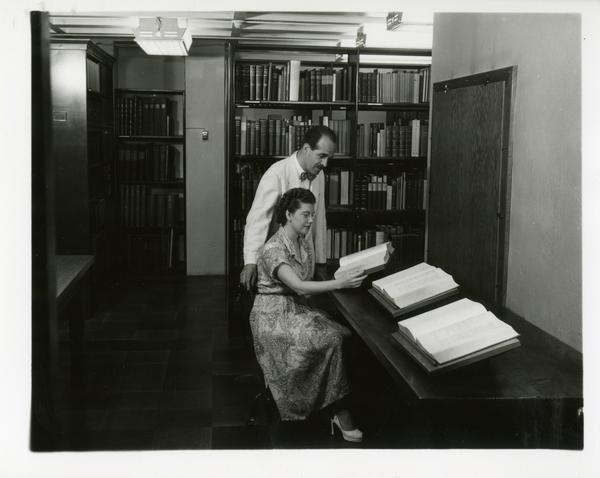 Edna Davis, Librarian and Lawrence Clark Powell, July 1953