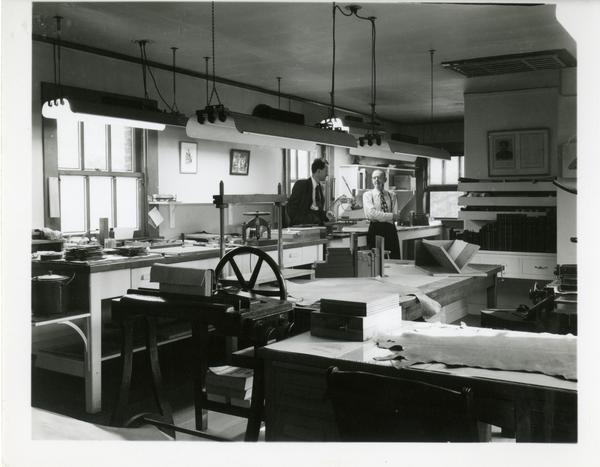 Employees in work room in the William Andrews Clark Library