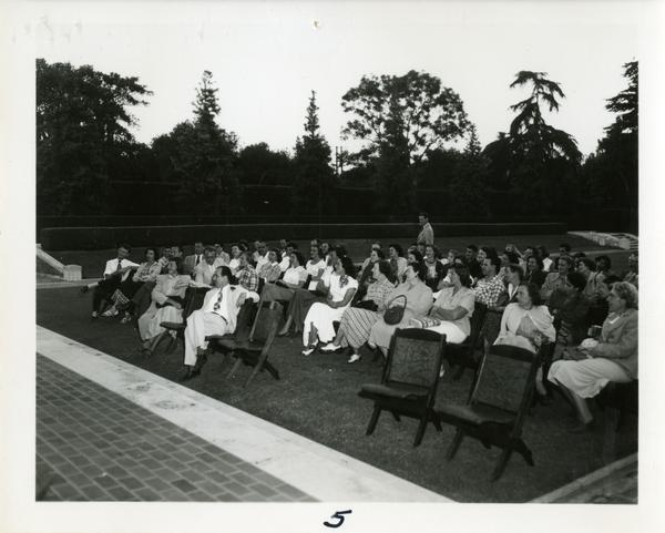 Crowd at an event outside the William Andrews Clark Library