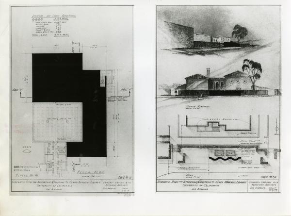 Schematic studies of the William Andrews Clark Library, May 1966