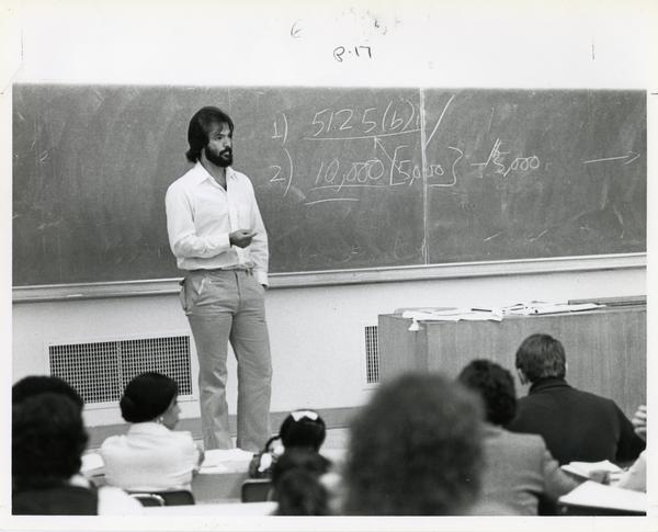 Instructor in the front of the class, circa 1980