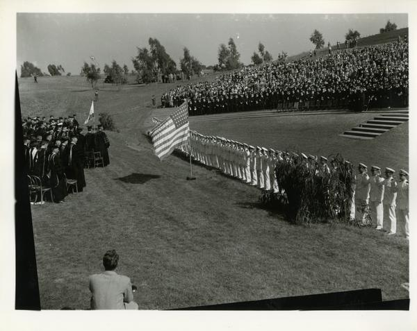 View of crowd during Commencement, circa 1940's
