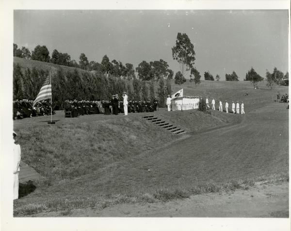 Side view of the stage at Commencement, circa 1940's